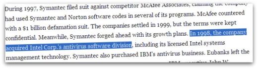 Symantec acquires Intel anti-virus