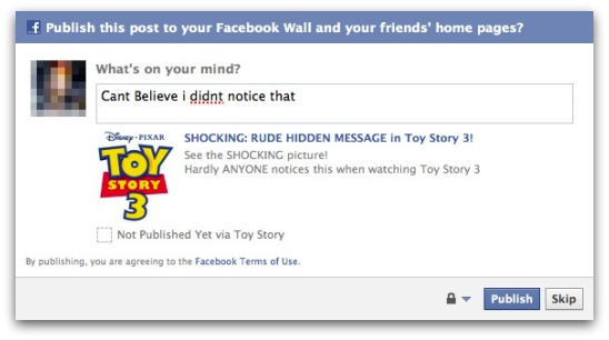 Toy Story 3 scam on Facebook