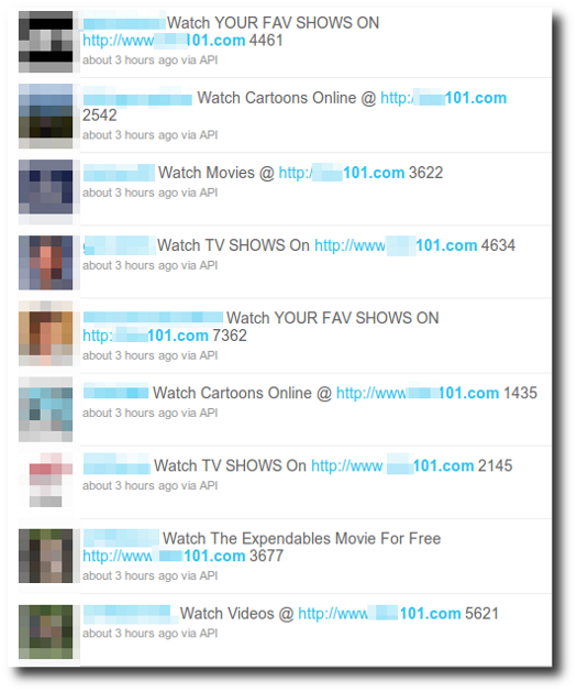 Screenshot of hacked twitter accounts