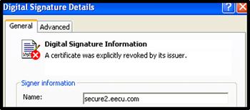 Screenshot of certificate post-revocation