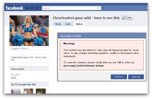 Cheerleaders gone wild page on Facebook