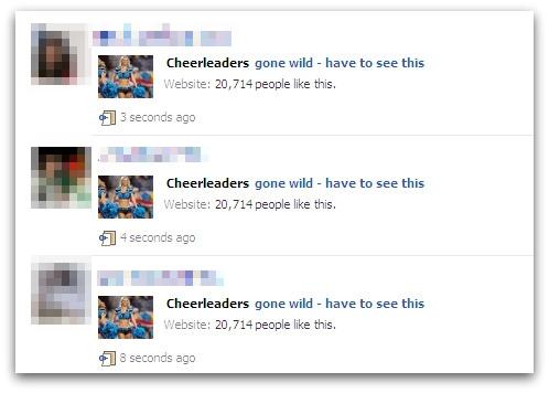 Cheerleaders gone wild message on Facebook
