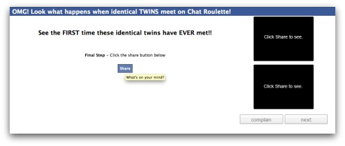 Facebook identical twins Chat Roulette message