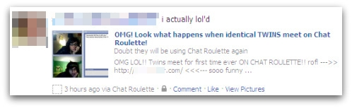 Account sending out messages about identical twins on Chat Roulette