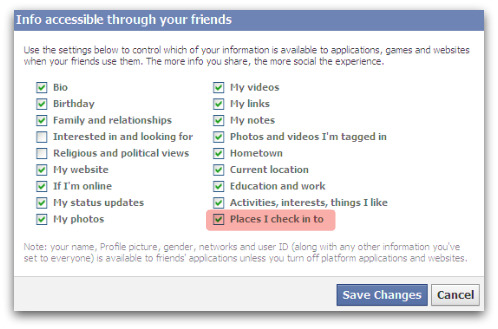 Facebook Places - applications and websites can access your location