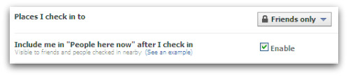 Facebook Places - who can see you're checked-in to a location