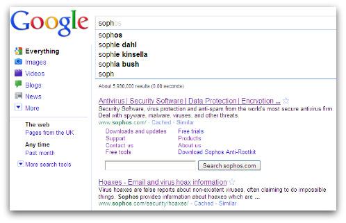 Google Instant Sophos