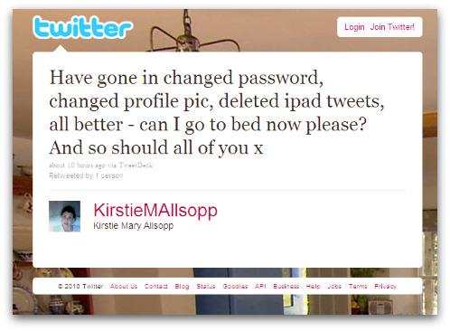 Kirstie changes her Twitter password