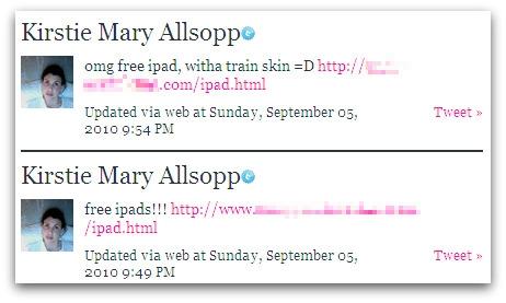 Spam sent from Kirstie Allsopp's Twitter account
