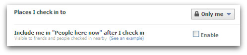 Facebook Places privacy setting
