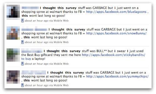 Survey scam messages