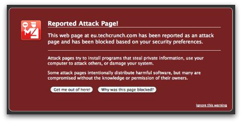 Firefox intercepting dangerous page on TechCrunch Europe