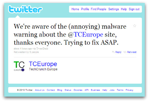 TechCrunch tweets out warning