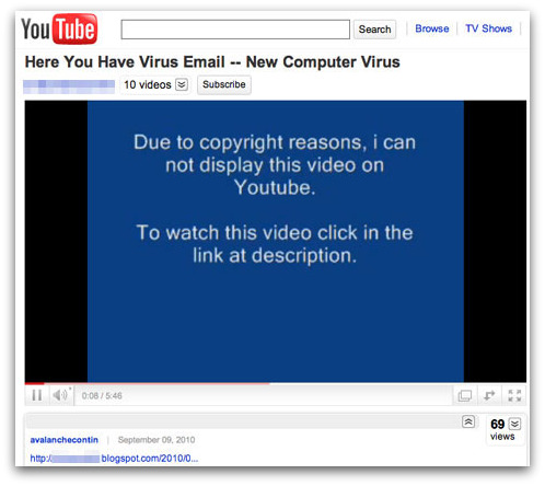Spam Here you have virus video on YouTube