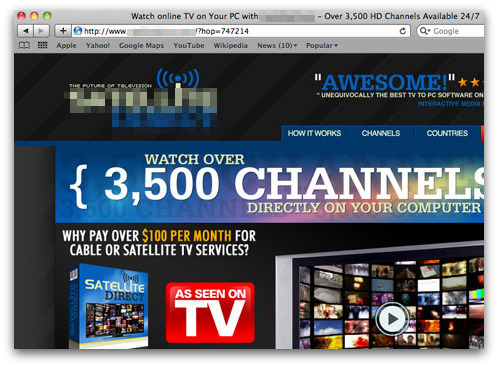 Website claiming to offer access to TV shows