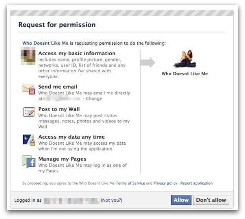 Facebook application requesting permission to access your personal information
