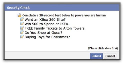 Facebook application displays a revenue-generating survey
