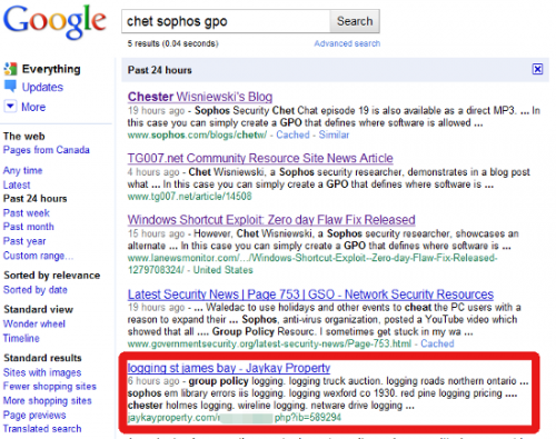 Poisoned Google search results