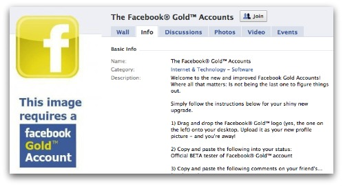 Facebook Gold scam