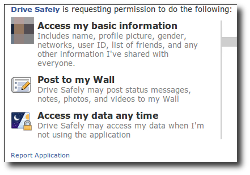 Screenshot of permissions requested in Facebook attack
