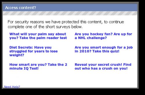 Facebook scam survey