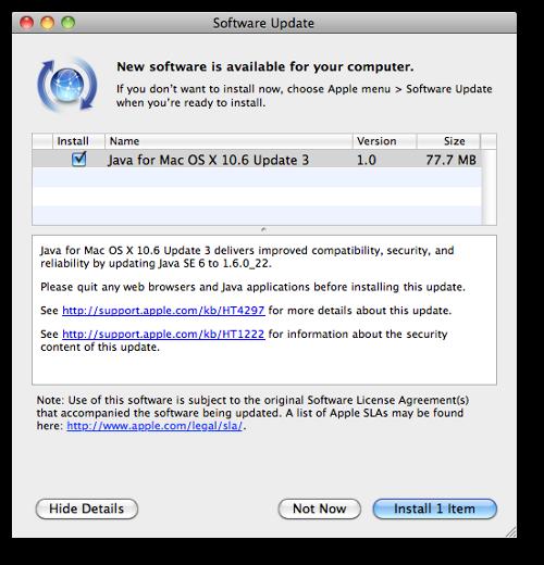 Screen capture of Apple Update