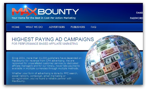 MaxBounty website