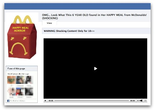Happy Meal horror scam Facebook page
