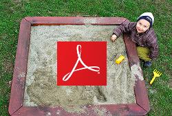 Acrobat logo in a sandbox