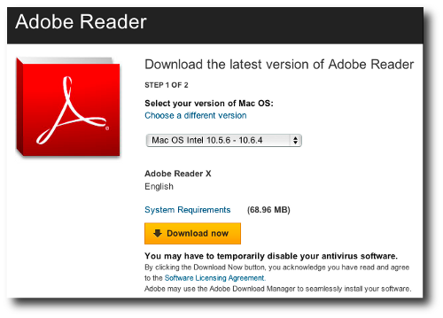 Reader X download page for OS X