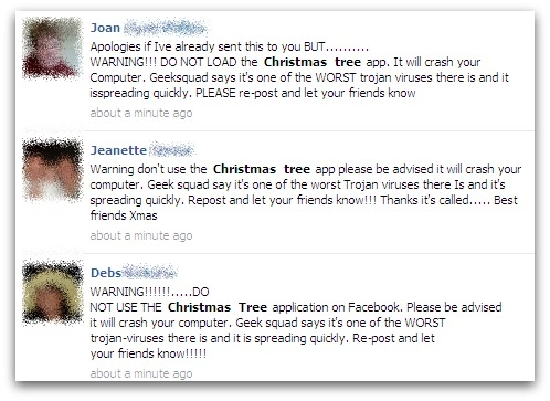 Warning messages about the Christmas Tree app virus