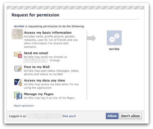 Facebook application asks for permission
