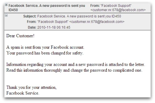 New password from Facebook?