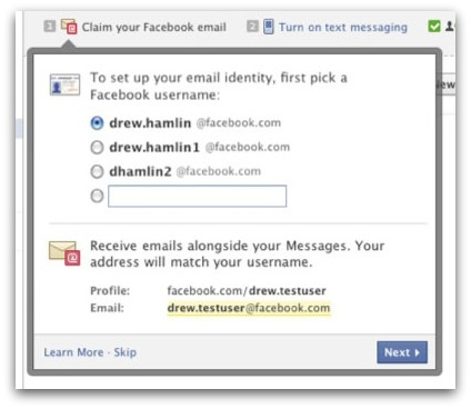 Choosing a Facebook email address