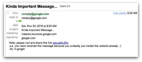 Google vulnerability spam