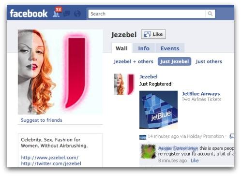 Jezebel's Facebook page. Click for larger version