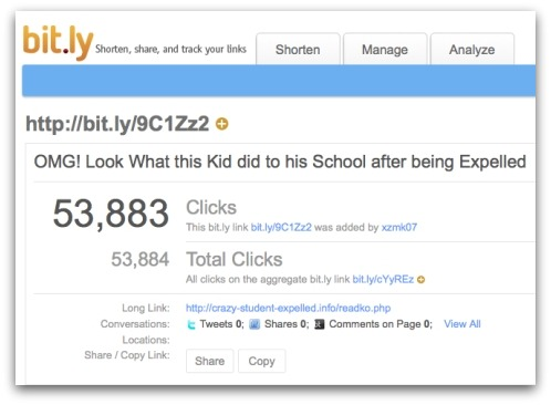 Bit.ly statistics of visitors to the page