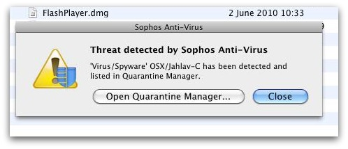 Sophos Anti-Virus for Mac detecting OSX/Jahlav-C