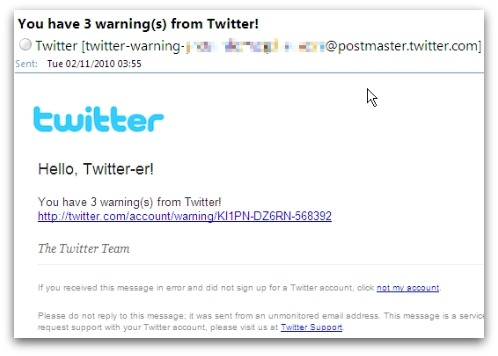 Bogus Twitter warning email