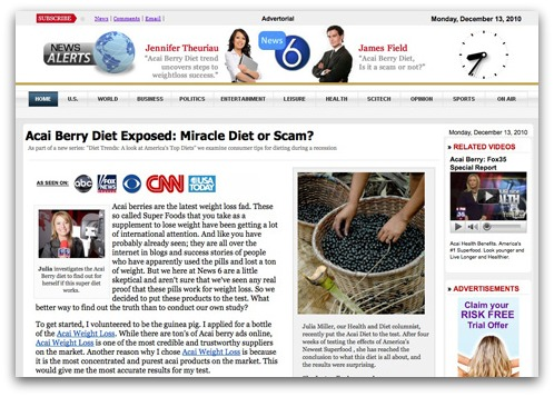 Acai berry spam diet page