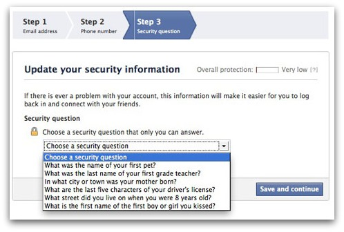 Facebook security question