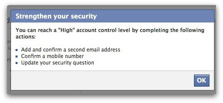 Facebook account protection status