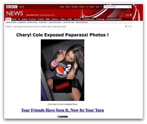 Cheryl Cole likejacking page
