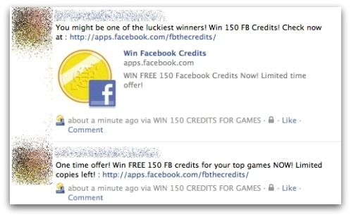 Compromised Facebook newsfeed