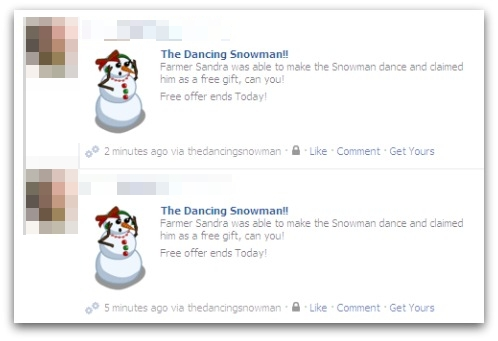 Dancing snowman newsfeed
