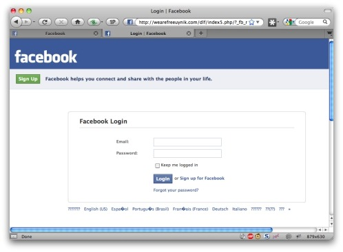 Facebook phishing website. Click for larger version