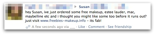 Free makeup scam on Facebook