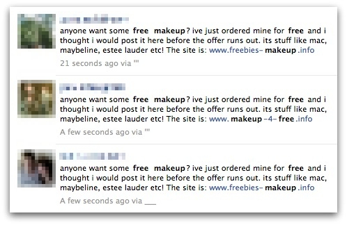 Free makeup messages from compromised Facebook accounts