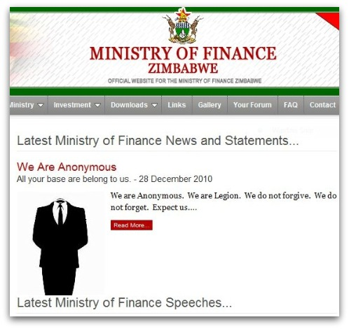 Defaced Zimbabwe government website
