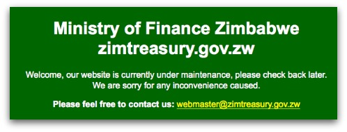 Zimbabwe Ministry of Finance down for maintenance